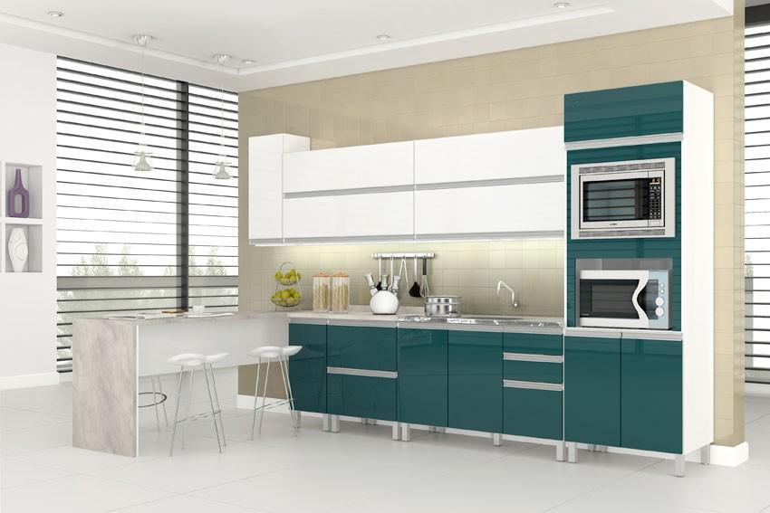 Armários de cozinha planejados coloridos  Decorando Casas # Armario De Cozinha Branco E Verde