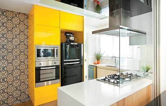 Armários de cozinha planejados coloridos  Decorando Casas