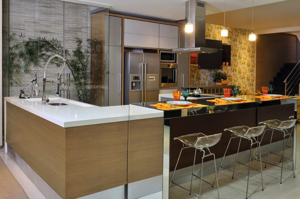 Bancada de cozinha americana em l  Decorando Casas # Bancada Cozinha Tamanho Ideal