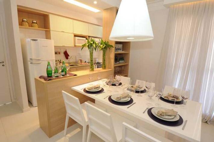 Cozinha americana pequena com sala de jantar decorando casas - Apliques pared aki ...