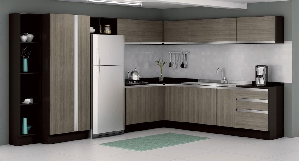 Armário embutido para cozinha pequena  Decorando Casas # Cozinha Pequena Moldulada