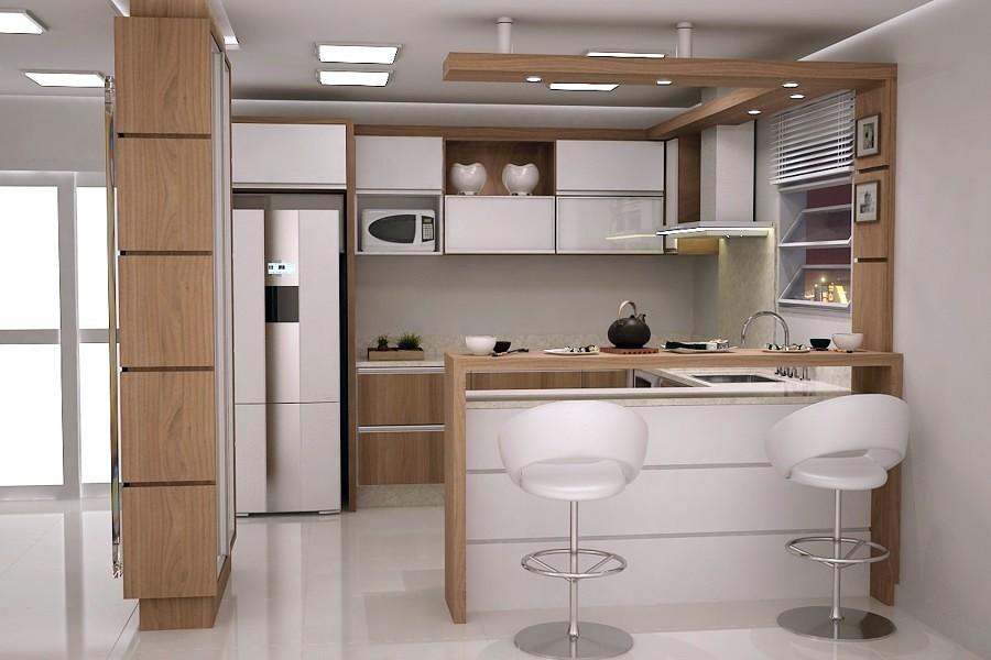 Armário embutido para cozinha pequena Decorando Casas