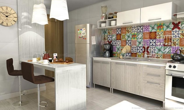kit decoracao cozinha : kit decoracao cozinha:Decoração de cozinha americana pequena e simples