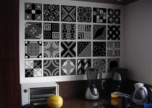 Adesivos de parede para cozinha decorando casas for Inodoro de azulejo de pared