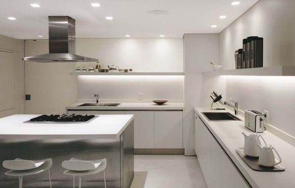 Cozinha com teto de gesso rebaixado decorando casas - Bancadas de cocina ...