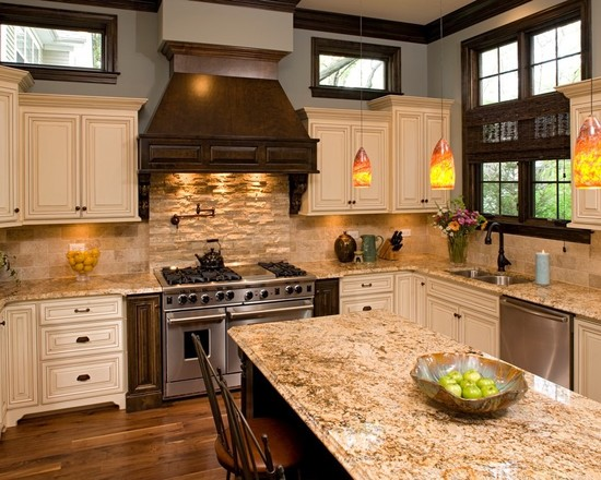 decoracao cozinha bege:Light Cream Kitchen Cabinets with Granite Countertops