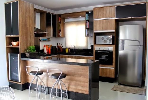 M veis planejados para cozinha americana decorando casas for Fachadas para apartamentos pequenos