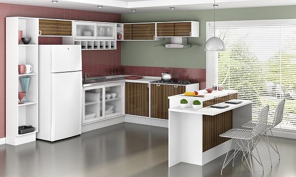 Móveis planejados para cozinha em L  Decorando Casas # Cozinha Pequena Em L