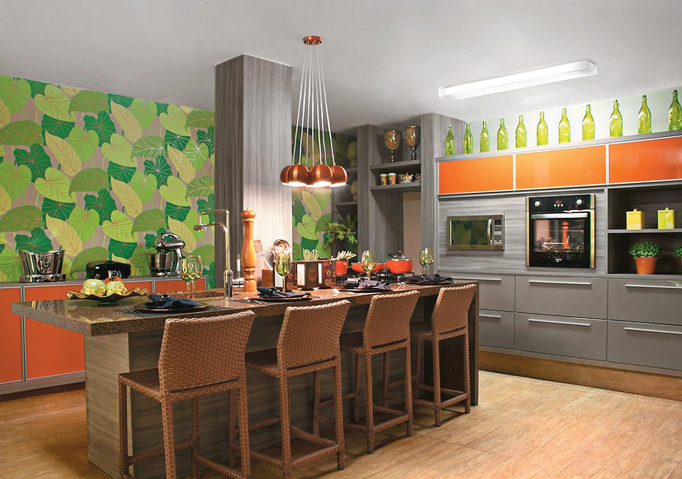 Papel De Parede Cozinha Gourmet Decorando Casas