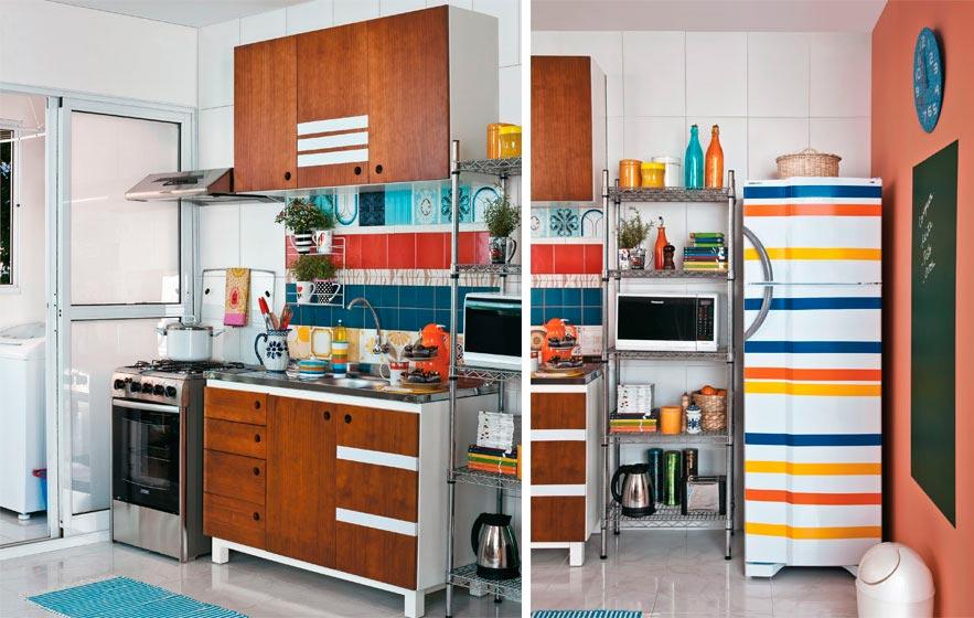 Decora??o de cozinha colorida Decorando Casas
