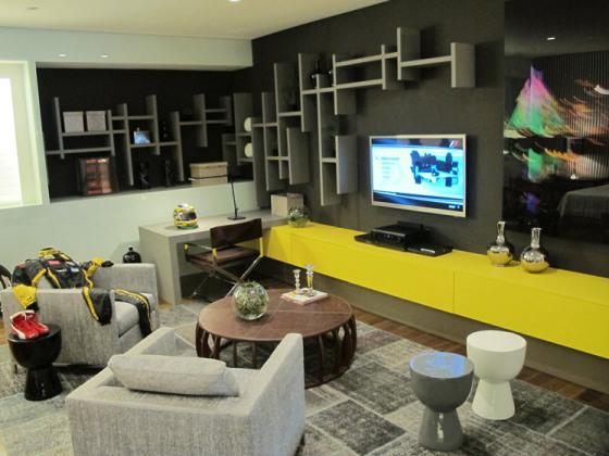 Home Office Na Sala De Tv ~ Decoração do home office na sala de TV  Decorando Casas