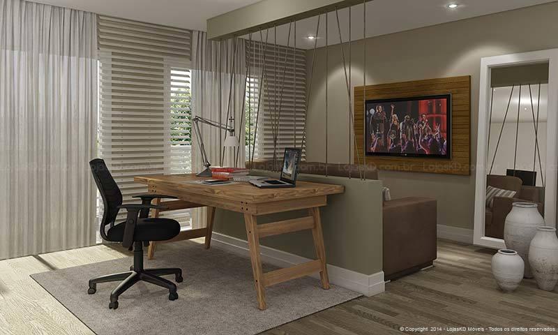 Saibam como fazer a decoração do home office na sala de TV, criando  ~ Sala Tv Home Office