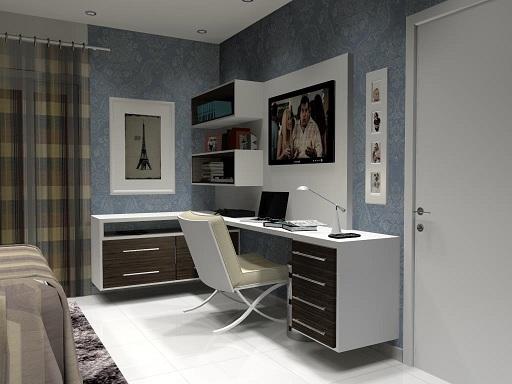 Decoração home office no quarto Decorando Casas ~ Quarto Casal Pequeno Com Home Office