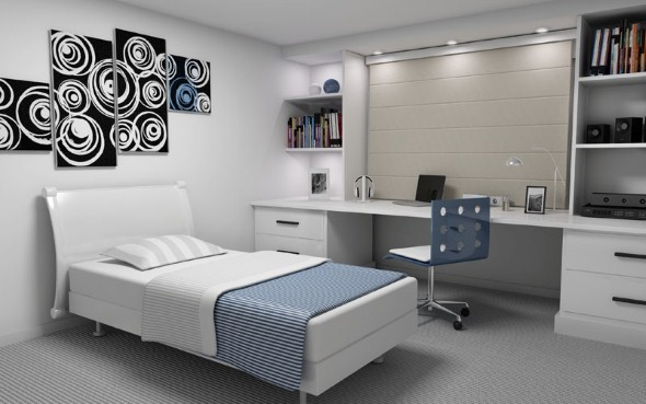 Home office no quarto moderno Decorando Casas ~ Quarto Solteiro Home Office