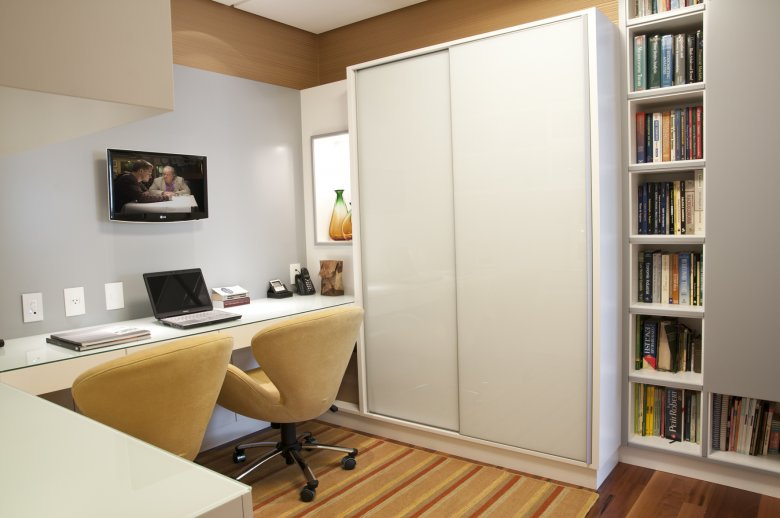 Home office no quarto com TV Decorando Casas ~ Quarto Solteiro Home Office