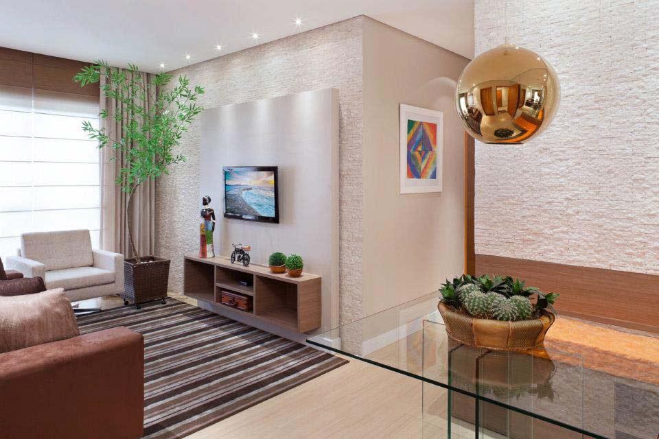 Sala De Estar E Jantar Conjugadas ~ Decoração clean para apartamento pequeno  Decorando Casas