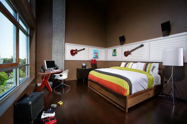 Decoração de quarto com estilo rock