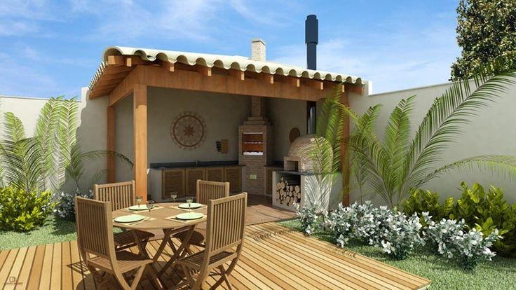 Área externa com churrasqueira e jardim