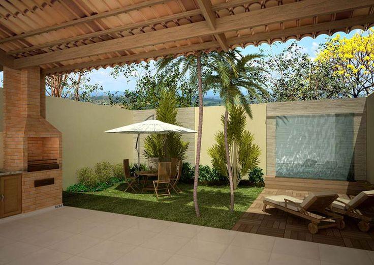 ?rea externa com churrasqueira e jardim Decorando Casas