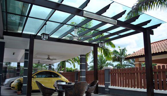 Cobertura pergolado com vidro ou policarbonato