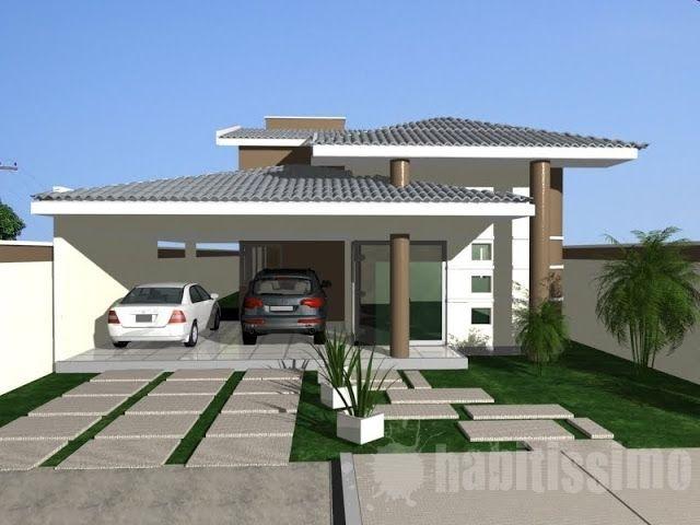 Fachadas de casas modernas com telhado colonial for Casas modernas de 70m2