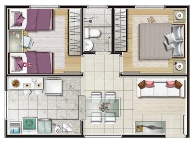Plantas de casas com 2 quartos e cozinha americana for Plantas para casa