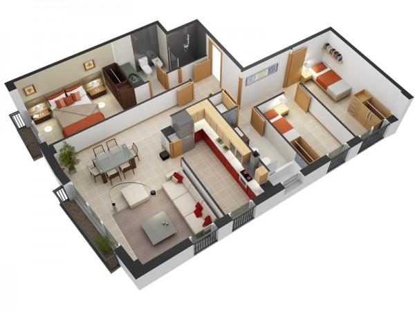 Plantas-de-casas-com-2-quartos-e-cozinha-americana