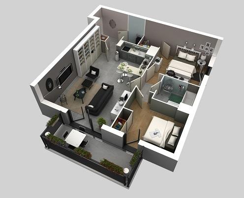 Plantas de casas com 2 quartos e cozinha americana