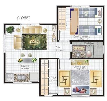 Plantas-de-casas-modernas-com-closet