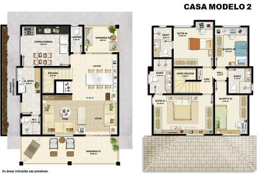 Plantas de casas modernas com closet decorando casas for Casa moderna 2 andares 3 quartos