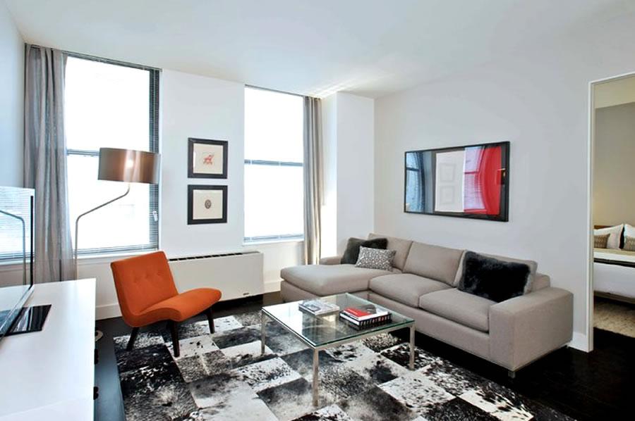 Decoração da sala de estar do apartamento pequeno