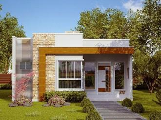Fachadas de casas com pedras e vidros