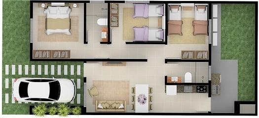 Plantas de casas com 3 quartos e garagem