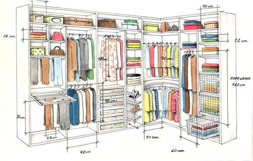 Projetos de closets pequenos com medidas decorando casas for Medidas estandar de muebles arquitectura