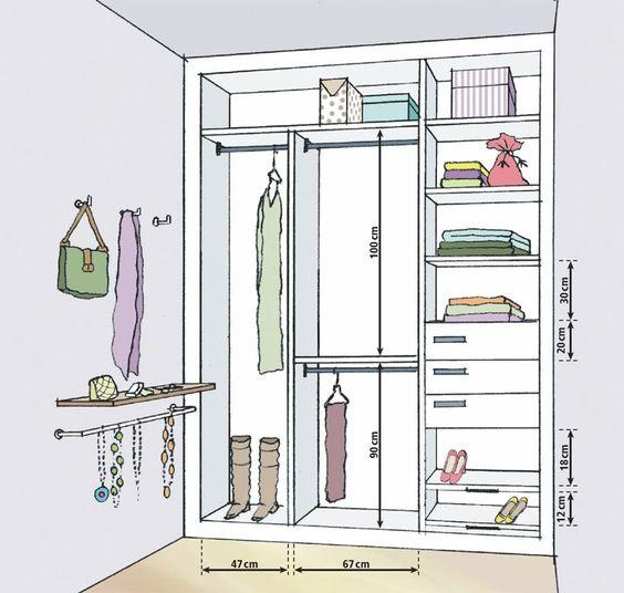 Projetos de closets pequenos com medidas decorando casas for Medidas estandar de cajones de cocina