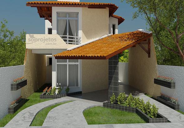 Projetos de sobrados com 6 metros de frente decorando casas for Casa moderna 90m2