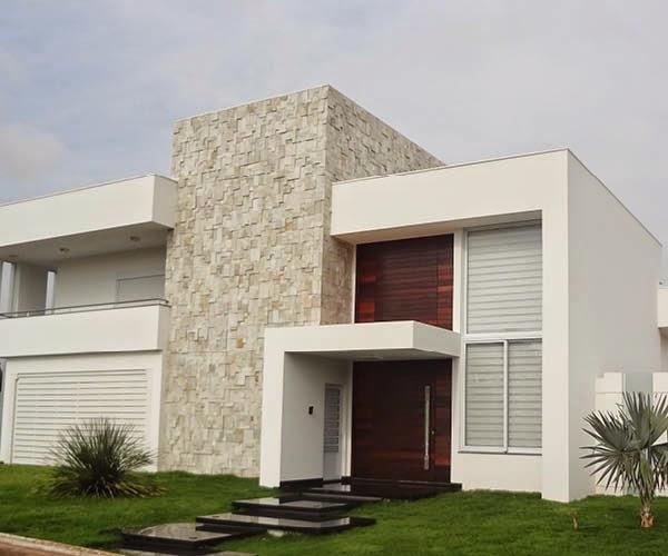Modelos e tipos de revestimentos para parede externa e for Ideas para fachadas de casas