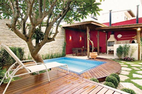 Rea externa com churrasqueira pequena decorando casas for Medidas de piscinas pequenas para casas