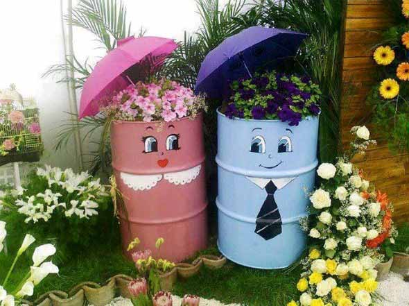 Como fazer um jardim com material reciclável?  Decorando Casas