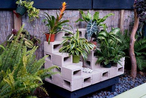 Blocos de concreto nos jardins