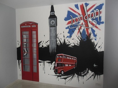 Decora o de quarto com o tema londres decorando casas for Deco murale chambre ado