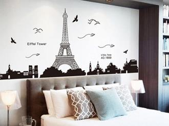 decora o de quarto com o tema paris decorando casas. Black Bedroom Furniture Sets. Home Design Ideas