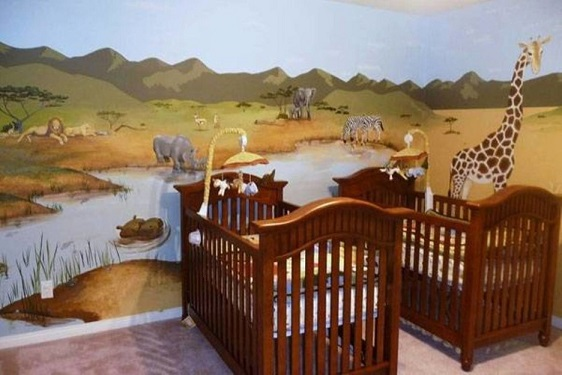 decoracao do quarto de bebe masculino com tema safari