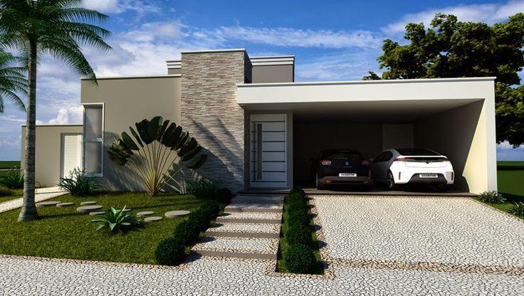 Fachadas de casas pequenas com platibanda decorando casas Fachadas de entradas de casas modernas