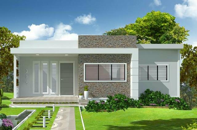 Fachadas de casas pequenas com platibanda decorando casas for Casas modernas de 70m2