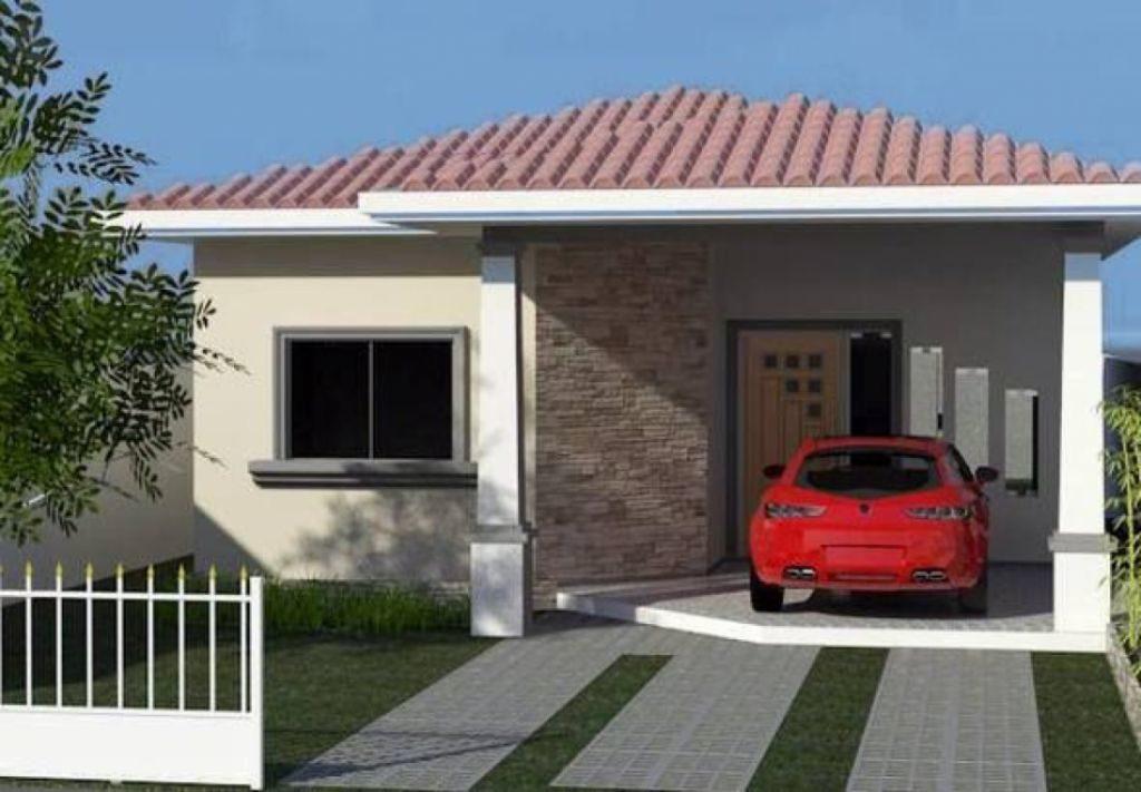 Fachadas de casas populares com áreas