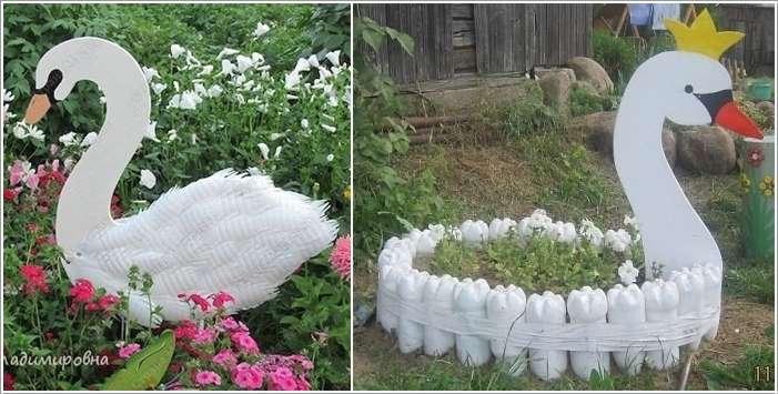 ideias para decorar meu jardim:Garden Made of Recycled Plastic Bottles