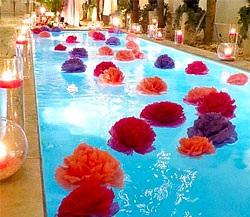 Decoração de ano novo para piscina