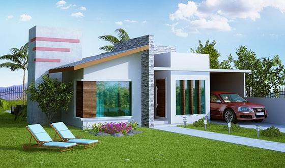 Fachadas de casas com telhado misto decorando casas for Casa minimalista roja