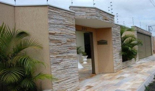 Fachada de muro com cerâmica